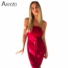 AKYZO 2017 Sexy Autumn Bodycon Party Dress Women Strapless Slim Summer Dress Elegant Solid Club Midi Dress Evening Vestidos
