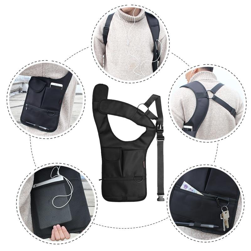 Armpit Bag with Adjustable Strap Anti-theft Portable Chest Bag Men Underarm Shoulder Hidden Multi Pockets Messenger Sling Bag