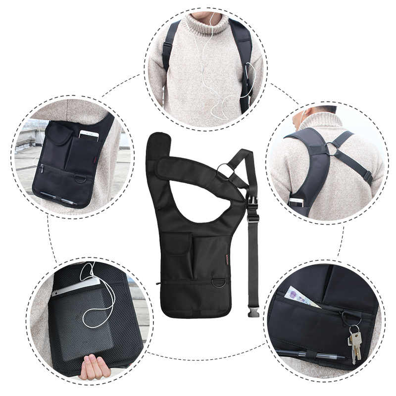 fe6dd39418ff Armpit Bag with Adjustable Strap Anti-theft Portable Chest Bag Men Underarm  Shoulder Hidden Multi Pockets Messenger Sling Bag