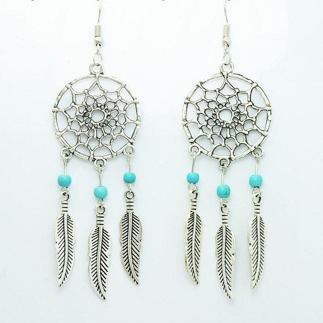 Nova moda jóias de prata do vintage cor Dream catcher gota dangle brinco presente para as mulheres menina E2835