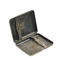 1X Rétro Bronze Métal Étui à Cigarettes (90mm * 70mm) peut Tenir 16 Cigarettes de Taille Normale (85mm * 8mm) tabac Box Case Avec 2 Clips
