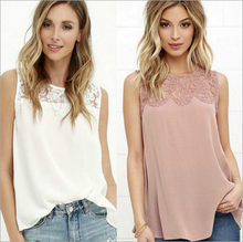 Uguest Sexy Summer Chiffon T-shirts Female Lace Top Woman Summer O-neck Sleeveless White Casual Tops Floral T-shirt Pink 2019(China)
