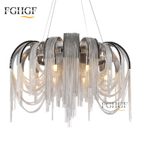 New Simple European Chandelier Light Silver Aluminum Chain Tassel Chandeliers Lighting Hotel Lobby Lamp E14 E12 bulbs Lustres