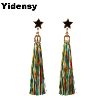 Yidensy 2018 New Fashion Blue Pinl Mixed Color Long Tassel Earrings Star Dangle Drop Earring Women Girl Christmas Jewelry