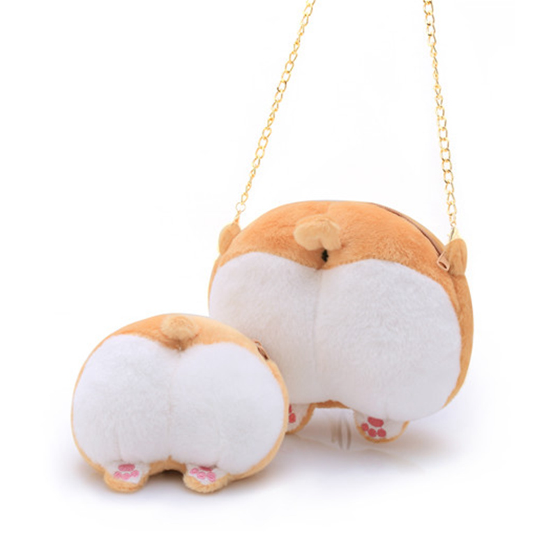 Cute Corgi Butt Shape Coin Purse Animal Plush Backpack Funny Long Belt Corgi Crossbody Hangbag Children Like Handbag