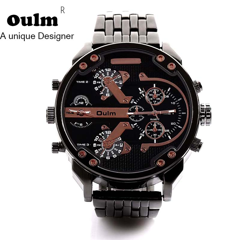 Oulm Brand Big Watches Men Luxury Brand Military Army watch Men's Casual Wristwatches Famous Quartz Male Watch relogio masculino oulm men dual movt big dial japan luxury military watches men stainless steel strap wristwatches male golden clock