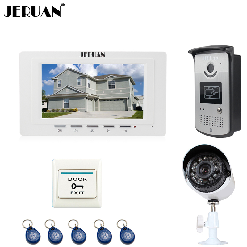 JERUAN white 7`` LCD Video Intercom Door Phone System 1 Monitor 1 RFID Access Camera + 700TVL Analog Camera+EXIT button jeruan home 7 video door phone intercom system kit 1 white monitor metal 700tvl ir pinhole camera rfid access control in stock