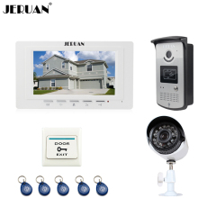 "JERUAN white 7"" LCD Video Intercom Door Phone System 1 Monitor 1 RFID Access Camera + 700TVL Analog Camera+EXIT button"