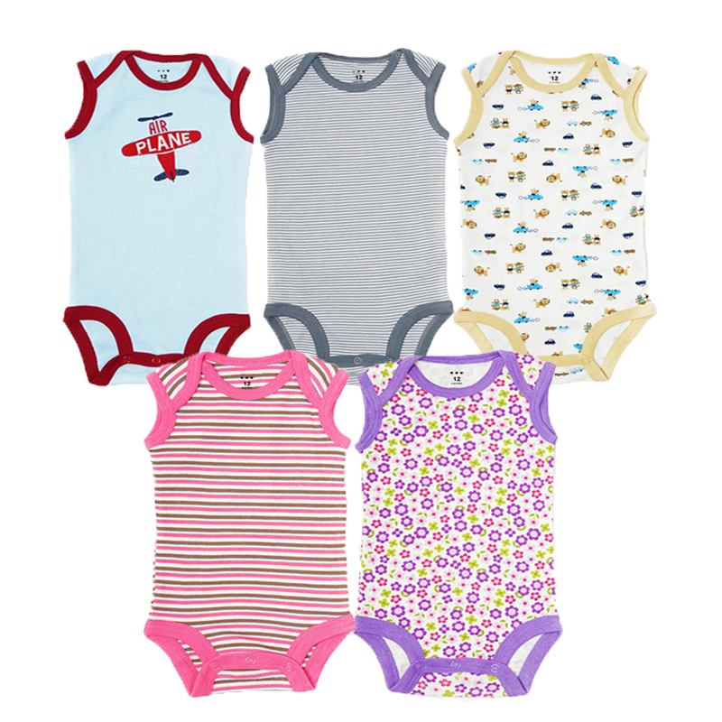 5Pcs Baby Rompers Summer Baby Boy Clothes Cotton Newborn Baby Clothes Infant Jumpsuits Baby Girl Clothing Sets for 0-12 Month