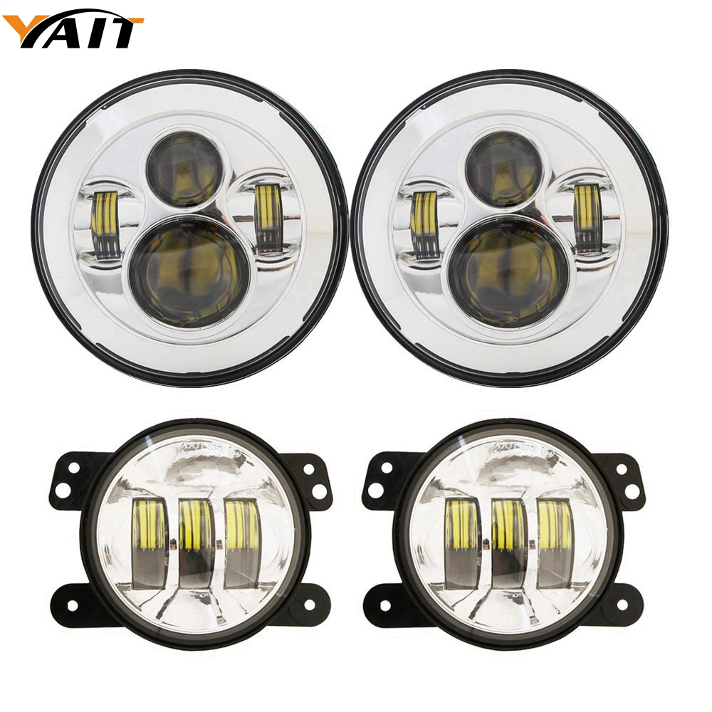 7Inch Led Round Headlights + 2x 4Inch Front Bumper Fog Lights For 2007-2017 Jeep Wrangler JK JKU Rubicon Sahara Sport Unlimited on sale 2pcs auto accessories 6500k 4inch 30w led fog lamp light fits for jeep wrangler jk 2007 2015
