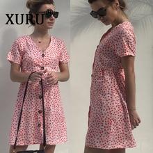 XURU summer new women's floral dress print V-neck single-breasted short-sleeved dress single breasted v neckline dress