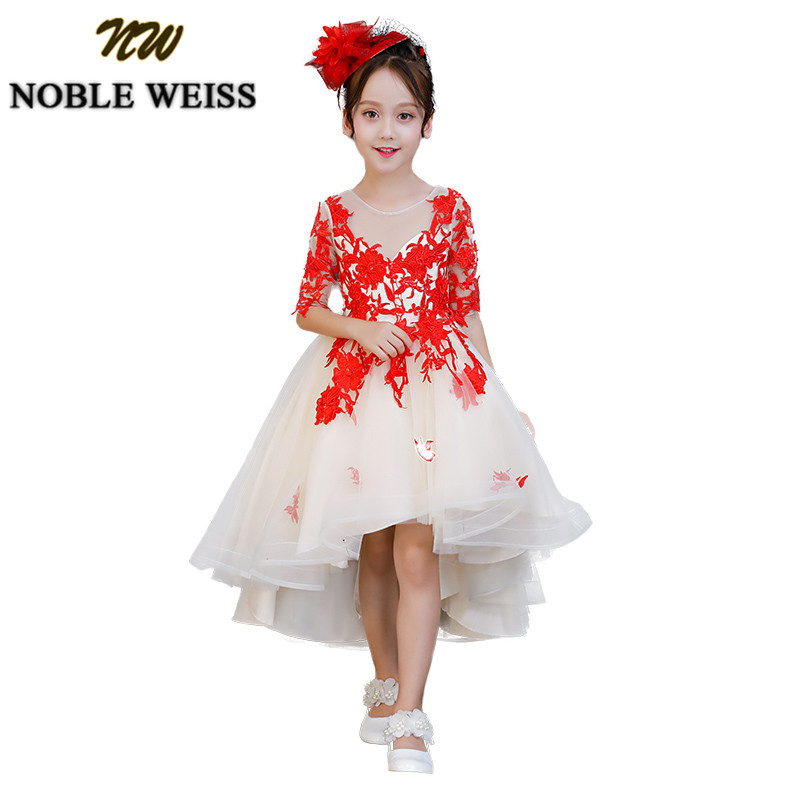 NOBLE WEISS Ball Gown   Flower     Girl     Dress   For Weddings with Elegant Red Lace Communion   Dresses   Vestido daminha Cheap Sale