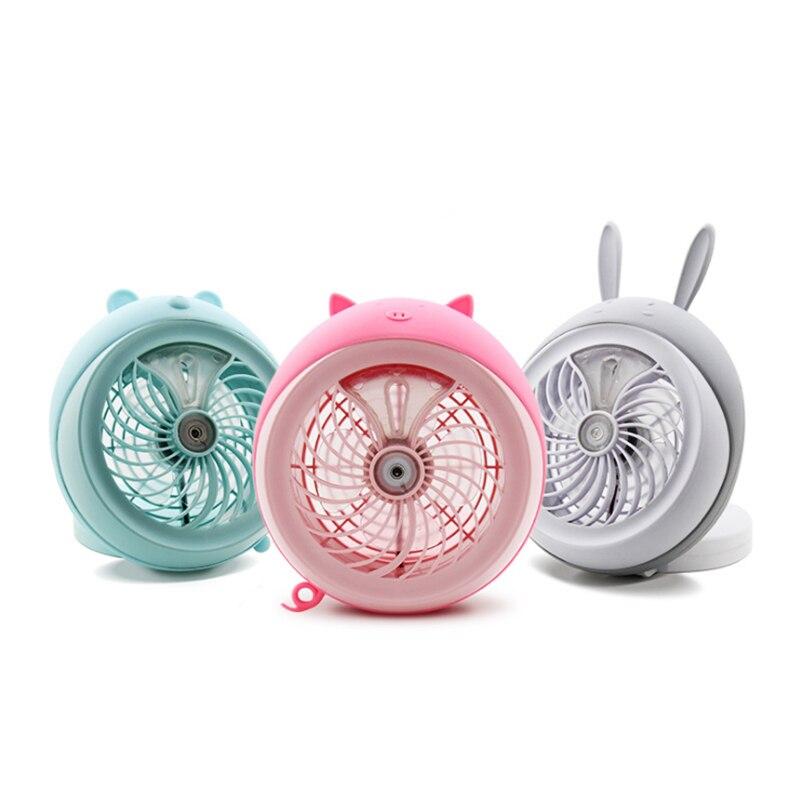 Humidifier Mini Fan Spray water USB Rechargeable Battery fan Water Mist Fan Round Cartoon Cat Office Home Round Cooling Fan
