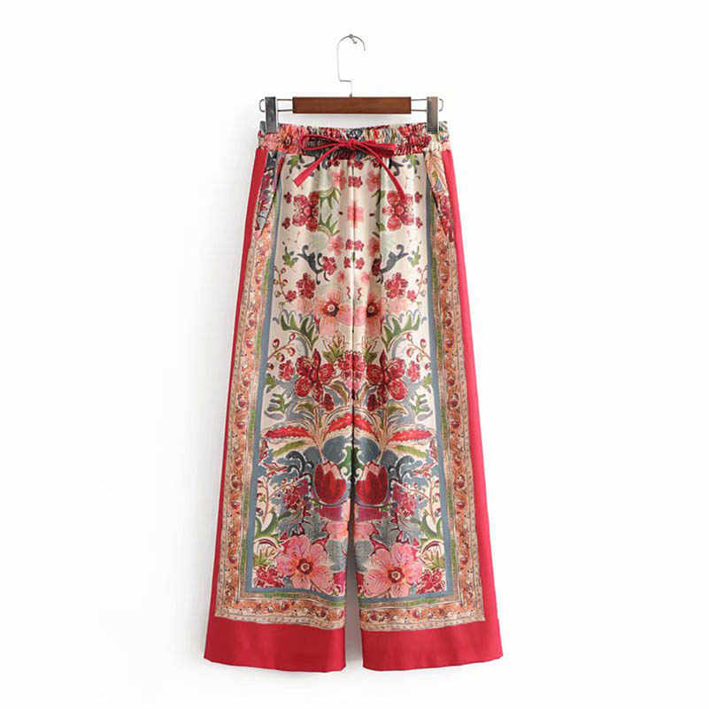 NiceMix Summer 2019 Women Floral Printed Wide Leg Pants Female Elastic High Waist Casual Loose Trousers European Style pantalon
