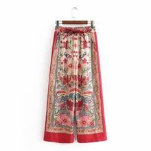NiceMix Summer 2019 Women Floral Printed Wide Leg Pants Female Elastic High Waist Casual Loose Trousers European Style pantalon