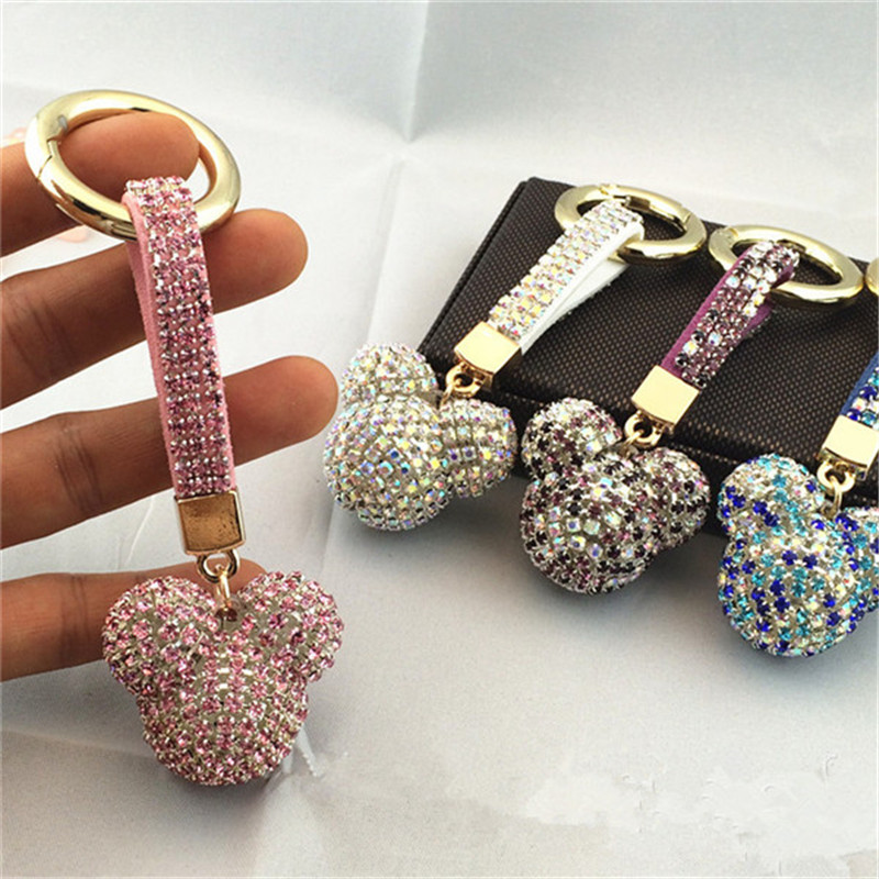 Zircon Key Chain Pendant Tassel Mickey Bear Ball Car Bag Korean Luxury Rhinestone Accessories Fashion Jewelry -JH(China)