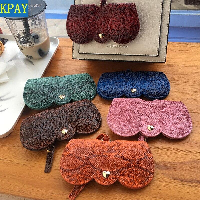 Snake Fashion Hot Sale Women Portable Case PU Leather Fold-able Sun Eye Glasses Box For Eyeglass Sunglasses Cute Protection Bag
