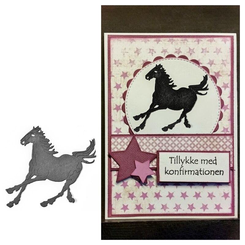 Julyarts 9*8.4cm New 2018 Horse Metal Cutting Dies Photo Album Embossing Stencil Card Scrapbooking Paper DIY Craft Metal Cutting