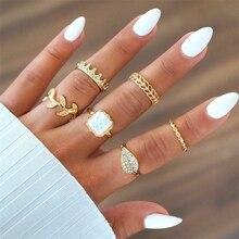 RscvonM, 6 шт. в наборе, модное богемное кольцо в виде листка, Хрустальная корона, женский набор колец, кольцо для женщин, девушек, кольцо на кончик пальца, новое ювелирное изделие
