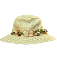 wome Summer Hat  Breathable Wide Chapeau Femme Ete Straw Sweet All-match Flower Decor Sun Protection Beach