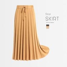 1pcs Hight waist Women Pleated knit skirts 2019Autumn Knitted cotton Splicing belt Long skirt Ladies Skinny