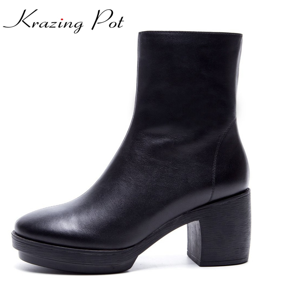 Krazing Pot 2018 cow leather platform decoration solid women round toe square high heels zipper punk style mild-calf boots L02 new arrival superstar genuine leather chelsea boots women round toe solid thick heel runway model nude zipper mid calf boots l63