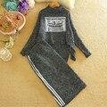 Apliques Runway Gola Elástica suéter de Gola Longo-sleeved Knit Sweater Tops Das Mulheres Uma Linha Saia De Malha Camisola + 2 pcs Inverno terno