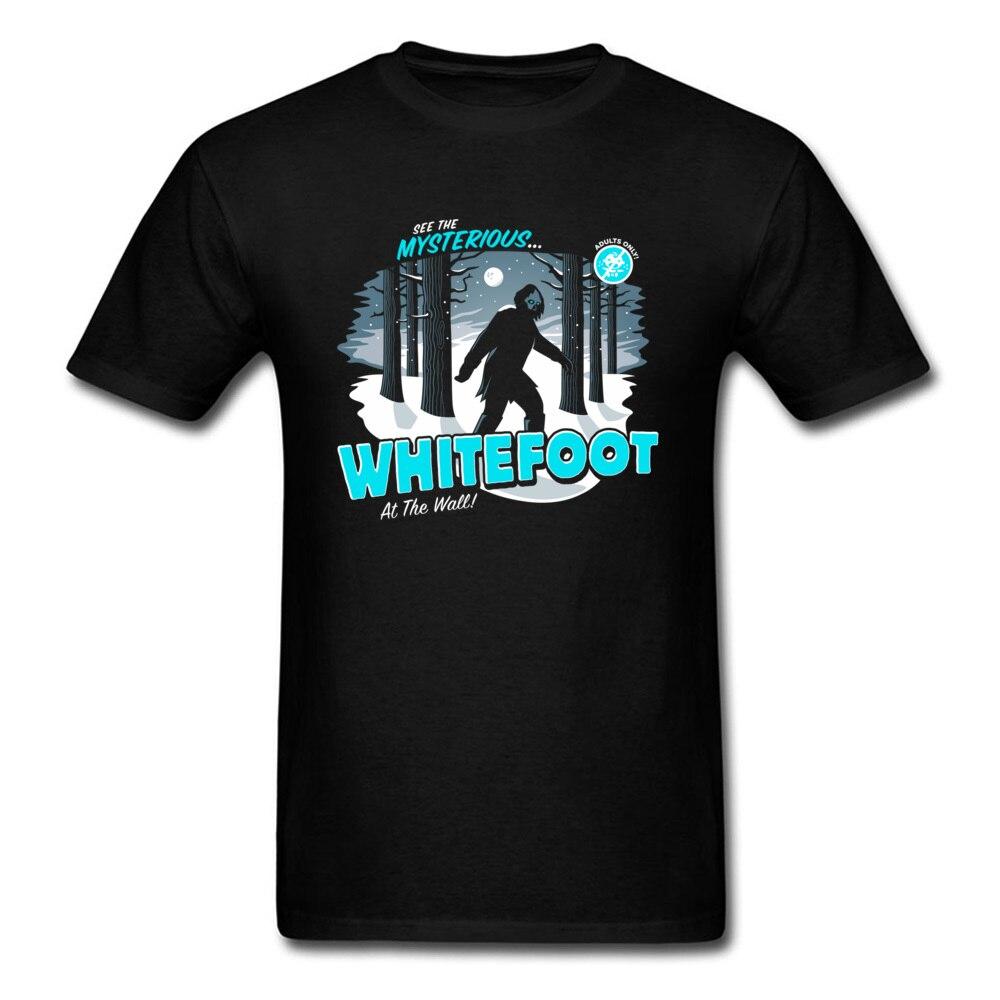 Whitefoot T-Shirt Bigfoot Funny Clothing Men Black T Shirt Graphic Tops Tees 100% Cotton Tshirt Short Sleeve Cartoon Print