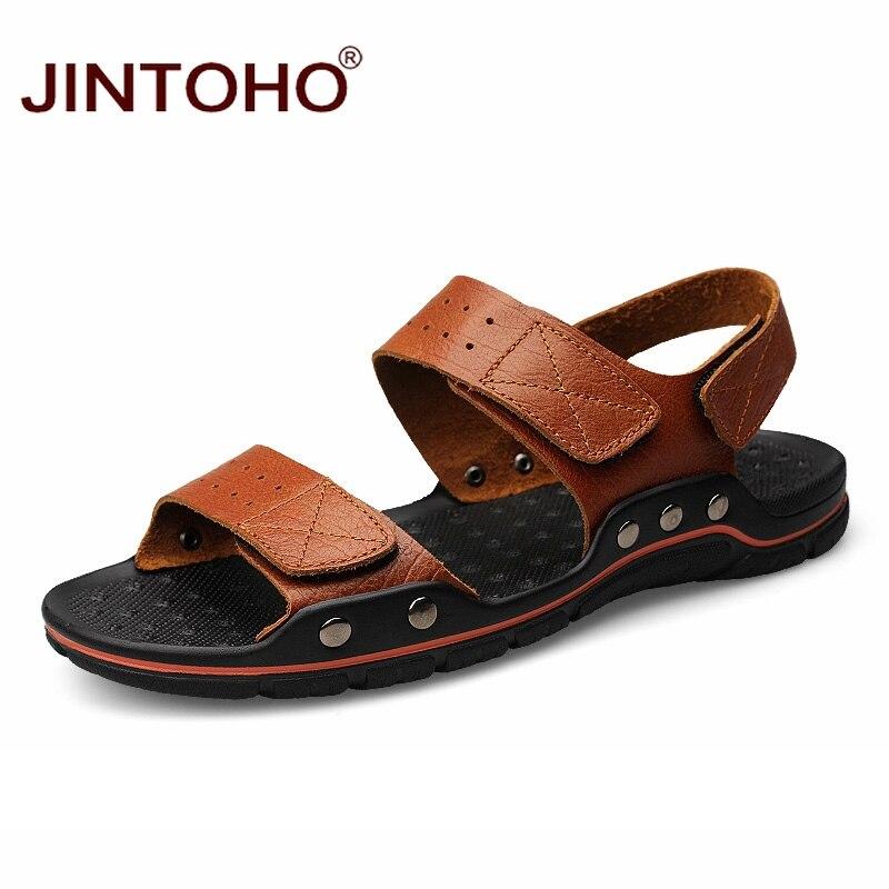 JINTOHO Big Size Men Leather Sandals Fashion Breathable Male Leather Sandal Summer Men Beach Shoes Beach Sandals Slippers zeacava men s summer shoes breathable beach sandals
