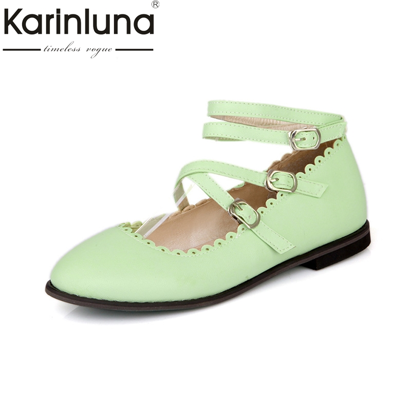 KARINLUNA large size 30-50 new Design buckle strap Summer Shoes Women pointed Toe Less Platform casual flats woman shoes lankarin brand 2017 summer woman pointed toe flats ladies platform fashion rivet buckle strap flat shoes woman plus size