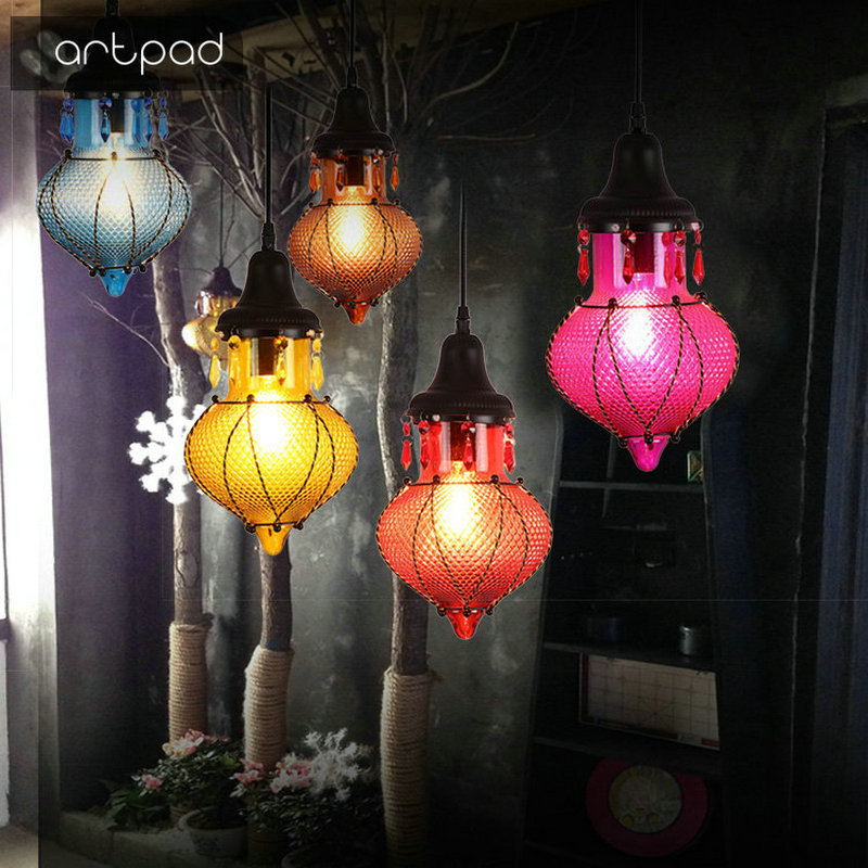 Artpad Sountheast Aisa Bohemia Style Restaurant Bar Pendant Light Stained Glass Lampshade LED Vintage Hanging Lamp