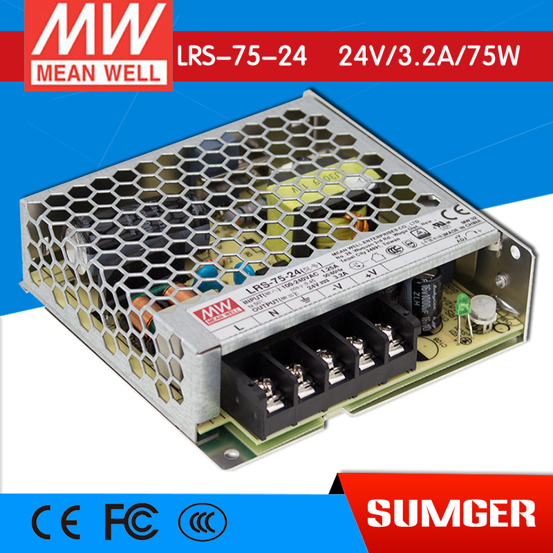 ФОТО [Freeshiping 2Pcs] MEAN WELL original LRS-75-24 24V 3.2A meanwell LRS-75 24V 76.8W Single Output Switching Power Supply