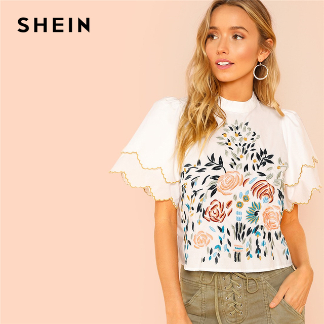 0b90903b98 SHEIN White Elegant Minimalist Floral Embroidered Ruffle Tiered Short  Sleeve Blouse 2018 Summer Casual Women Tops And Blouses