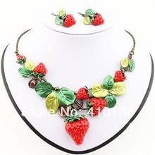 MS17208 Clásico Collar de Sistemas de la Joyería de Alta Calidad Rojo Antiguo Dulce Fruta Fresa Set Regalos Del Partido Envío Gratis