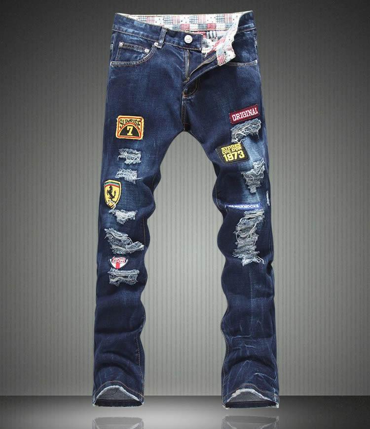 Hot sale  New Arrival Men Cutout Jeans Fashion Embroidery Pencil Trousers hot sale new arrival men cutout jeans fashion embroidery pencil trousers