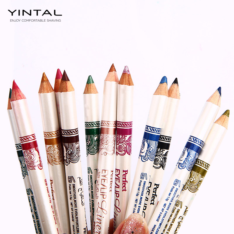 12PCS/Set 2 in 1 Eyeliner 12 Colors Lip Pencil Long-lasting Waterproof Makeup Cosmetic Set Eye Liner