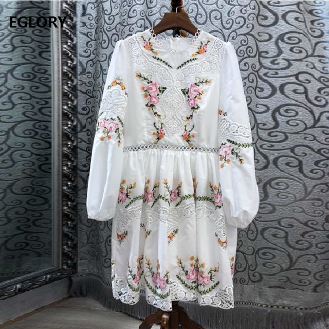 Top Quality New 2019 Autumn Fashion Party Event Dresses Women Hollow Out Lace Embroidery Long Sleeve White Dress Vestidos Fiesta
