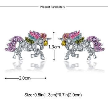 Dazzling Unicorn Licorne Stud Earrings