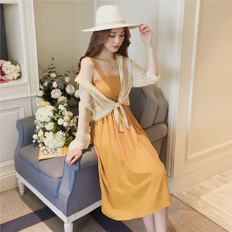 women summer dresses pullover sleeveless loose Knee-Length dresses 2019 Summer style Slash neck stripe two-piece dresses 2