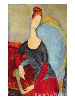 Canvas Paintings for living room Mme Hebuterne in a Blue Chair Amedeo Modigliani High quality Hand painted image