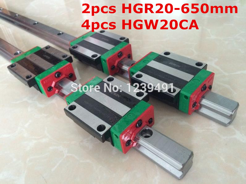 2pcs original hiwin linear rail HGR20- 650mm  with 4pcs HGW20CA flange block cnc parts free shipping to argentina 2 pcs hgr25 3000mm and hgw25c 4pcs hiwin from taiwan linear guide rail
