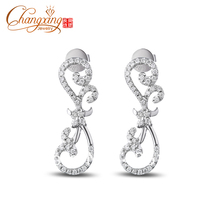 Wholesales 14k White Gold Natural 0.72ct Pave Round Cut Diamond Earring Studs