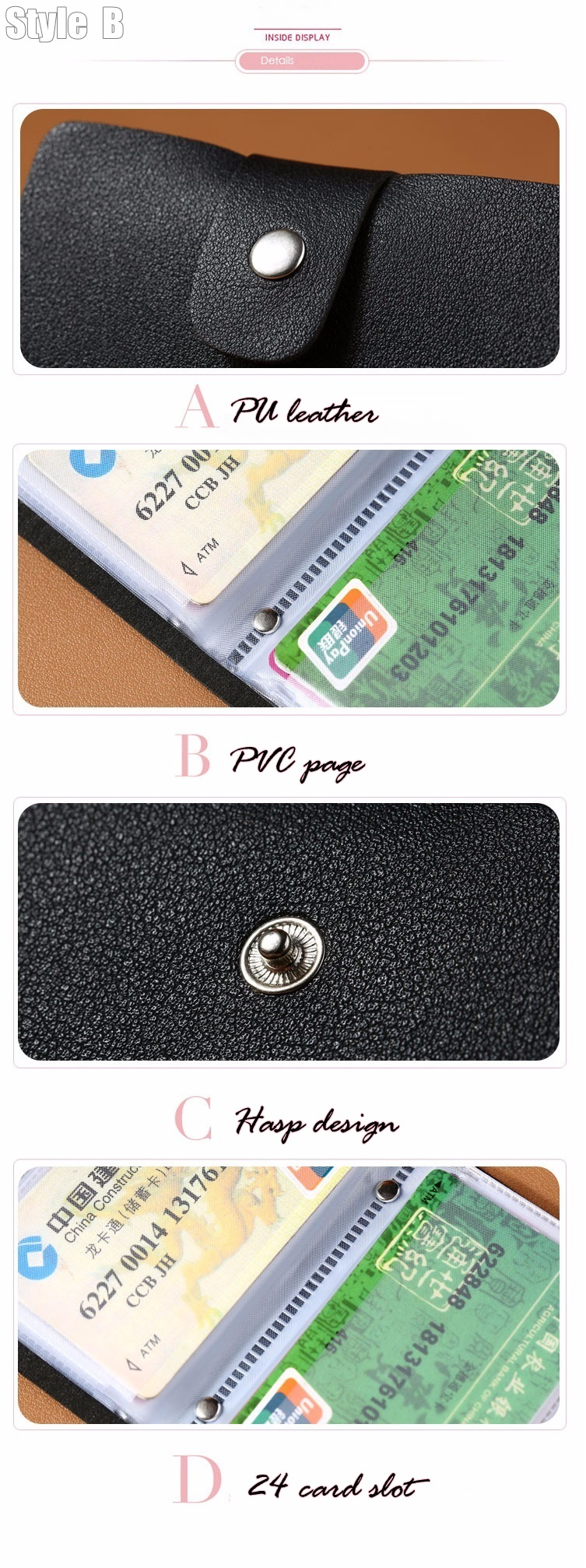 HTB1jngQcNiH3KVjSZPfq6xBiVXaU - New PU Leather Function 24 Bits Card Case Business Card Holder Men Women Credit Passport Card Bag ID Passport Card Wallet H088
