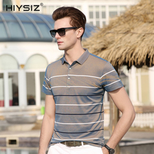 HIYSIZ New Hot T-Shirts Men 2019 Soft Streetwear Color Striped Casual T Shirt Turn-down Collar TShirts For Summer ST020