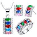 Jewelry set for women fashion colorful Gem Set  Silver jewelry silver plated necklaces rings stud earrings Jewelry Sets