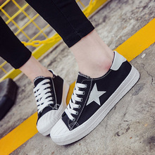 2016 new summer low help star canvas shoes female leisure skate shoes breathable plate student flat Strappy white shoes