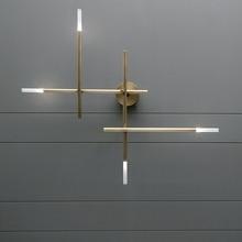 تركيبات إضاءة نحاسية فاخرة لغرفة المعيشة بعد الحداثة مصابيح إضاءة على الجدار لغرف النوم شمعدان منزلي ديكو للممر والممر مصباح جداري