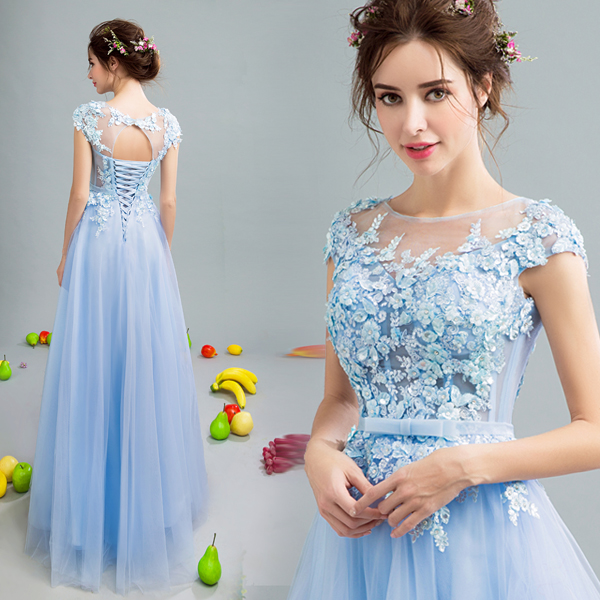 New Sky Blue Lace Sequines Sexy Long Sweat Lady Girl Women Princess Bridesmaid Banquet Party Ball Dress Gown