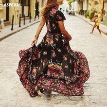 Lasperal 2018 Лето Для женщин длинные цветок Платья для женщин бренд ретро богемной Макси платье с v-образным вырезом с цветочным принтом Пляжные наряды для дам