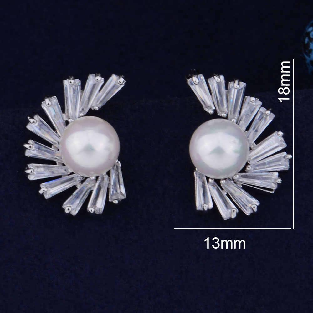 GODKI 18 mét Ốc Lông Hoa Giả Ngọc Trai Đầy Đủ Micro Cubic Zirconia Mở cho Phụ Nữ Bridal Engagement Bông Tai Đồ Trang Sức Nghiện